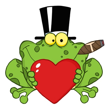 frog in love: Frog With A Hat And Cigar Holding A Red Heart  Illustration