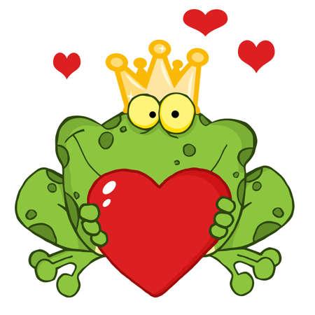 smiling frog: El pr�ncipe rana celebraci�n a rojo coraz�n