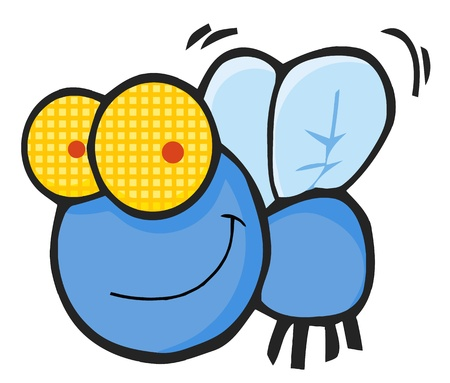 insect flies: Fly Cartoon Character  Illustration