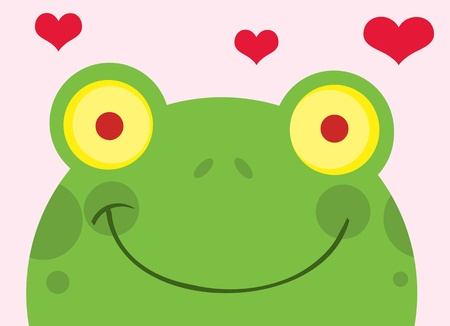 happy: Happy Frog With Hearts  Illustration