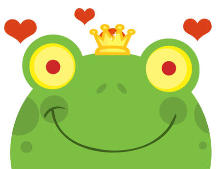 Frog Prince Cartoon Character With Hearts  Vector