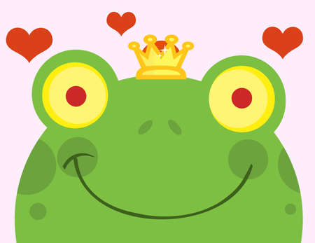 Frog Prince With Hearts  Vector