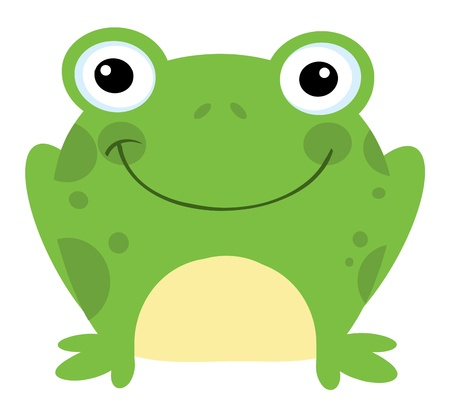 an adorable: Head Frog Cartoon Character Illustration