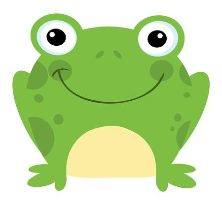 rana: Personaje de dibujos animados de rana de cabeza Vectores