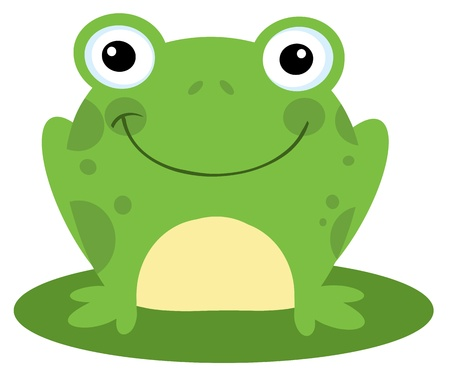 Happy Head Frog Cartoon Character