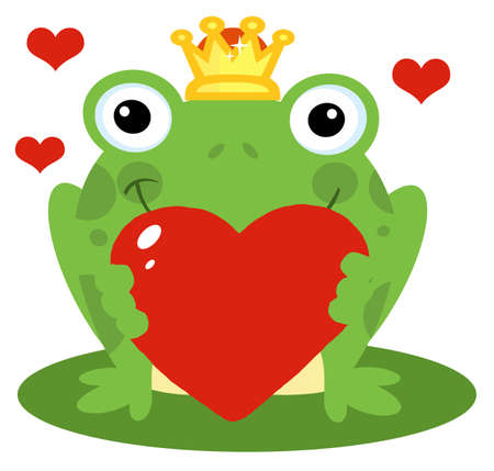 frog prince: Frog Prince Holding A Red Heart  Illustration