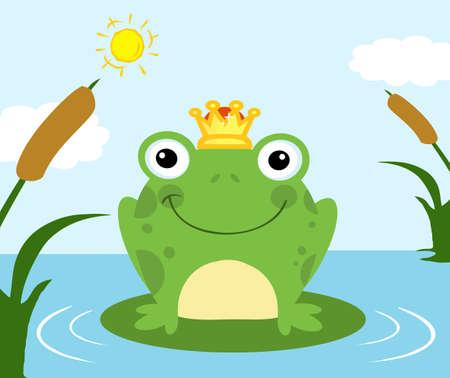 the frog prince: Illustrazione del principe ranocchio Vettoriali