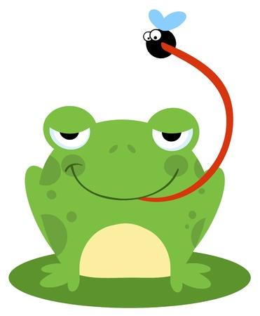 fear cartoon: Frog Catching Bug  Illustration
