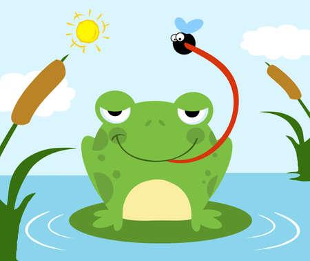 mosca caricatura: Mosca de captura de rana Vectores