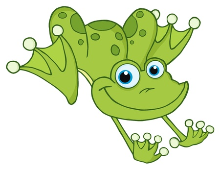 cute clipart: Frog Hopping Frog  Illustration