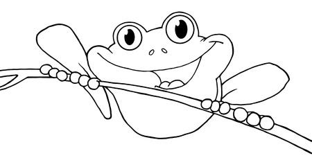 Geschetst gelukkig Red Eyed Tree Frog  Stock Illustratie