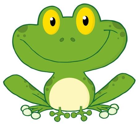 amphibians: Happy Frog Cartoon Character