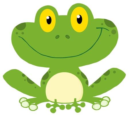 rana: Linda personaje de dibujos animados de rana