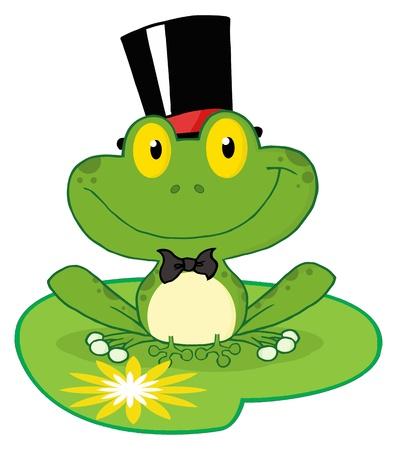 leapfrog: Personaje de dibujos animados de rana de novio de una hoja