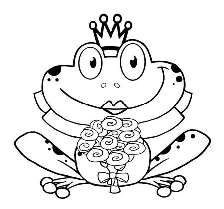 Outlined Bride Frog Cartoon Character  Vector
