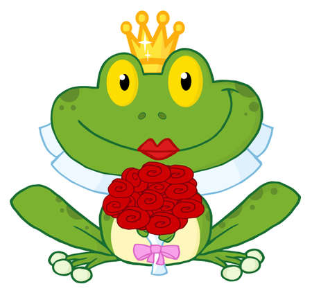 frog in love: Bride Frog Cartoon Character