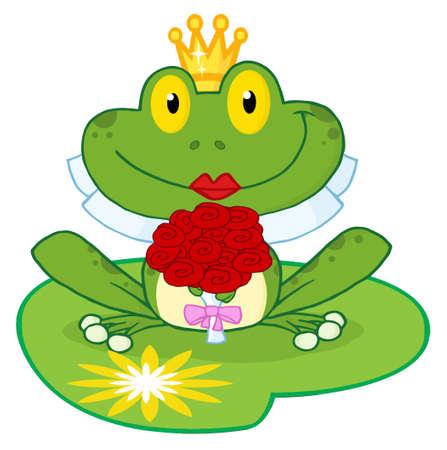 cartoon lips: Bride Frog Cartoon Character On A Leaf  Illustration