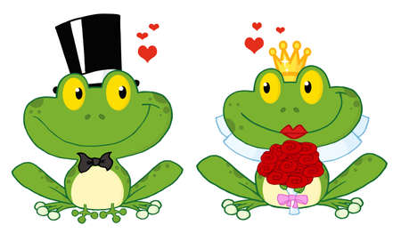 Bride and Groom Frogs Cartoon Characters  Vector