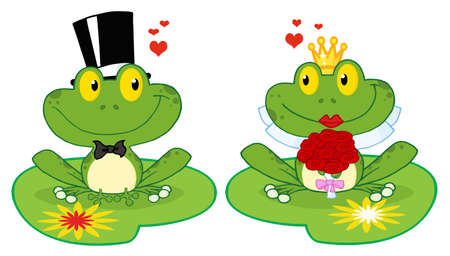 lily pad: Bride and Groom Frogs Cartoon Characters On A Leafs  Illustration
