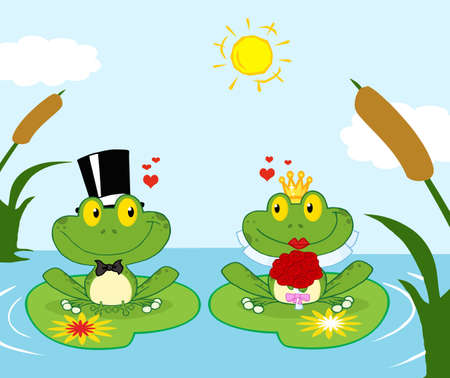 Bride and Groom Frogs Cartoon Characters On A Leafs In Lake