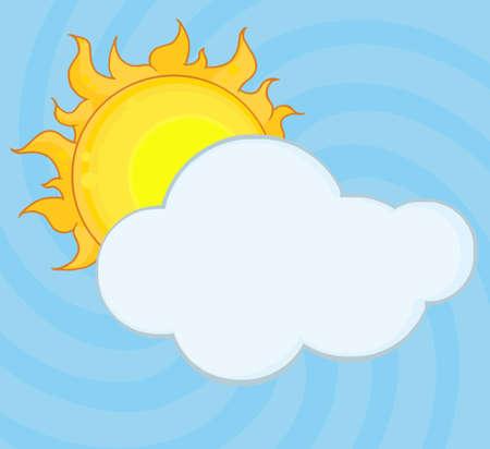 Yellow Sun Shining Hiding Behind Cloud  Vector