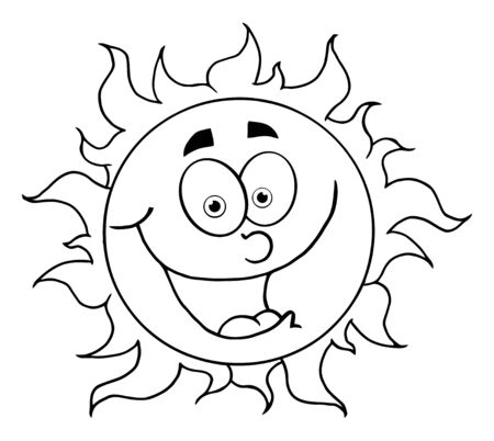 Outlined Happy Sun Mascot Cartoon Character