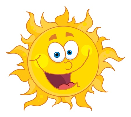 Sun Mascot Cartoon Character  Vector