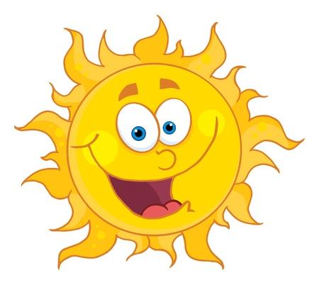 cartoon burn: Sun Mascot Cartoon Character  Illustration