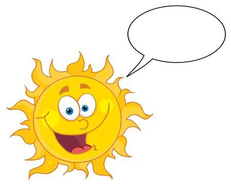 Happy Sun Mascot Cartoon Character With Speech Bubble Stock Vector - 8930286