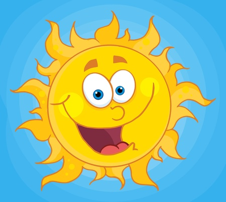 Happy Sun Mascot Cartoon Character  Vector