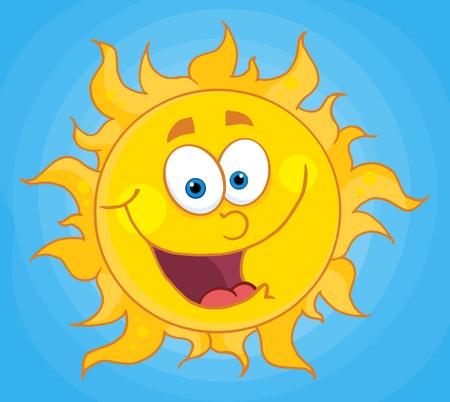 sun: Happy Sun Mascot Cartoon Character  Illustration