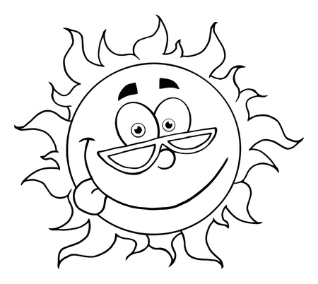 Outlined Happy Sun Mascot Cartoon Character With Shades  Stock Vector - 8930282
