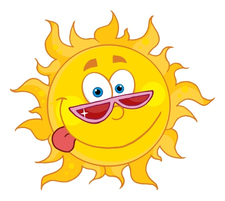 Happy Sun With Shades  Vector