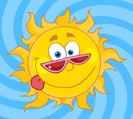 Happy Sun Mascot Cartoon Character With Shades