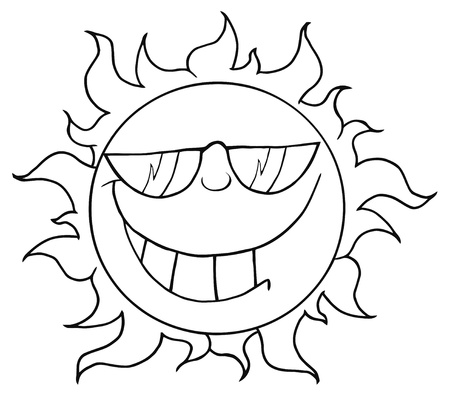 Outlined Smiling Sun Mascot Cartoon Character With Sunglasses  Ilustracja