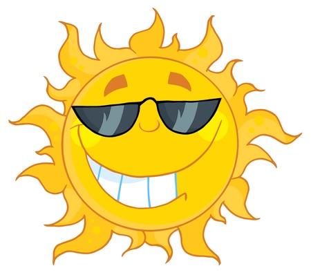 brandweer cartoon: Glimlachend zon met zonnebril  Stock Illustratie