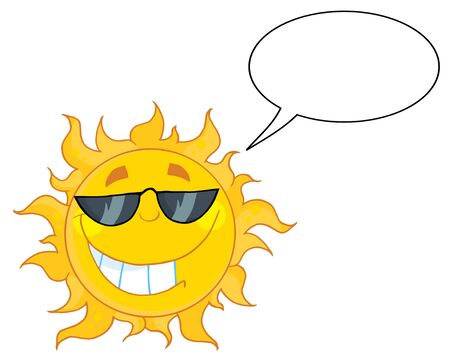 Smiling Sun Mascot Cartoon Character With Sunglasses And Speech Bubble  Vector