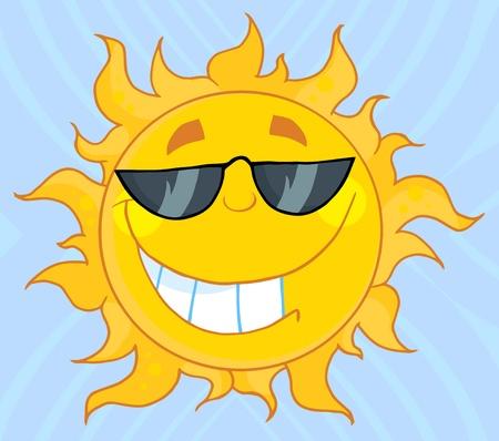 soleil souriant: Personnage de dessin anim� de Sun mascotte souriant avec lunettes de soleil  Illustration