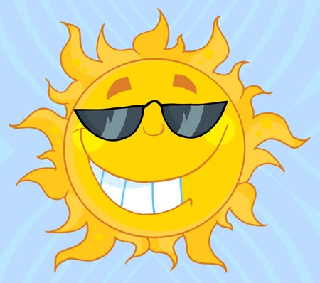 Smiling Sun Mascot Cartoon Character With Sunglasses  Vector