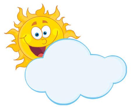Happy Sun Hiding Behind Cloud Stock Vector - 8930292
