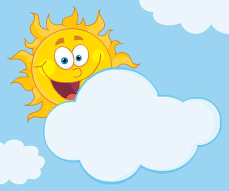 cloud: Happy Sun Mascot Cartoon Character Hiding Behind Cloud