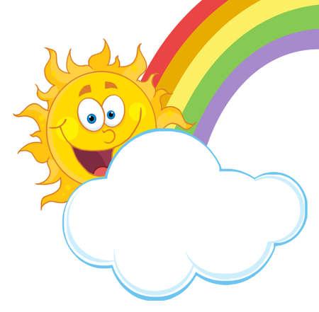 cartoon burn: Happy Sun Hiding Behind Cloud And Rainbow