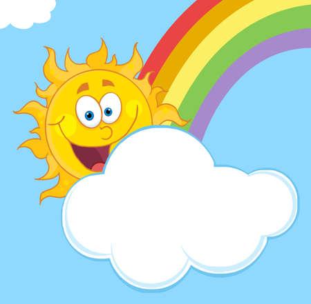 Happy Sun Mascot Cartoon Character Hiding Behind Cloud And Rainbow