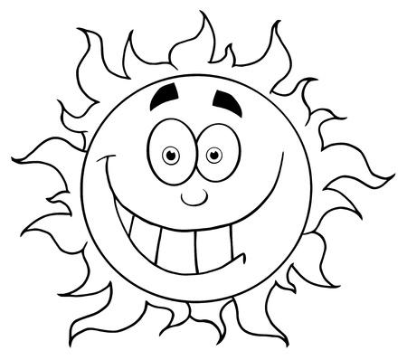 Décrit le personnage de dessin animé de Sun mascotte souriant