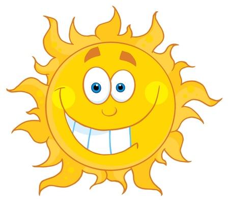 Gelukkig lachend Sun mascotte stripfiguur