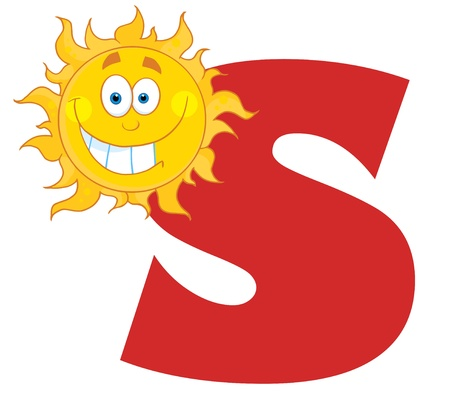 Smiling Sun With Letters S Stock Vector - 8930284