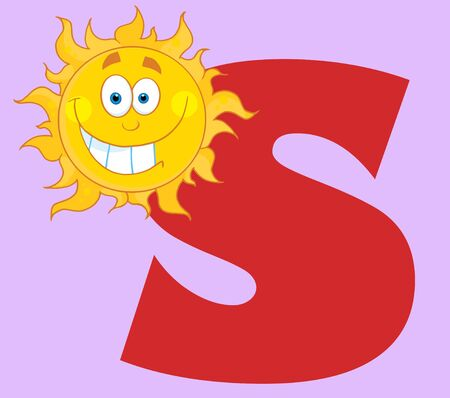 sun s: Happy Smiling Sun With Letters S