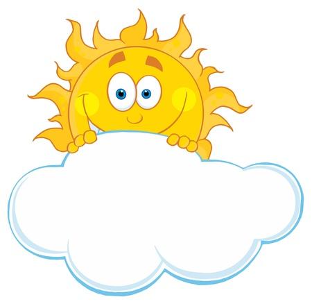 행복 햇빛은 구름 뒤에 숨어있다. 일러스트