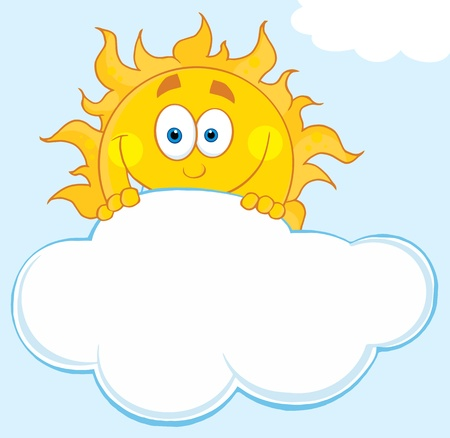 sun: Happy Sun Hiding Behind Cloud Vector Illustration  Illustration