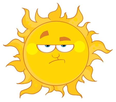 hot temperature: Lowering Sun Mascot Cartoon Character  Illustration